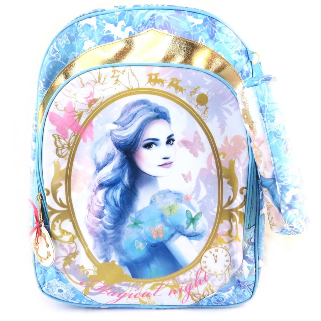 Sac à Dos \'Cinderella\' bleu (+ trousse) - 42x34x15 cm - [M5775]