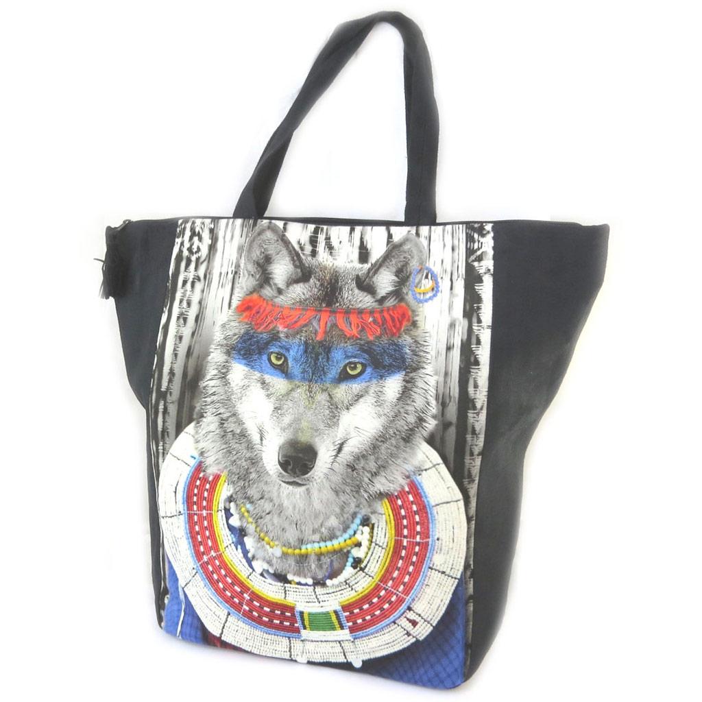 Grand cabas \'Loup Indien\' gris bleu noir - 47x40x85 cm - [N8579]