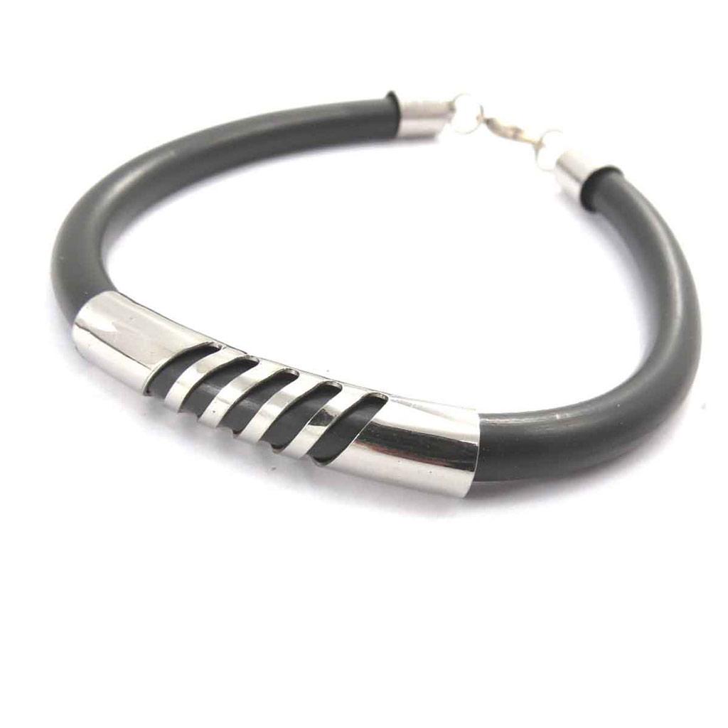 Bracelet mixte \'Peaceful\' acier noir  - [J8565]