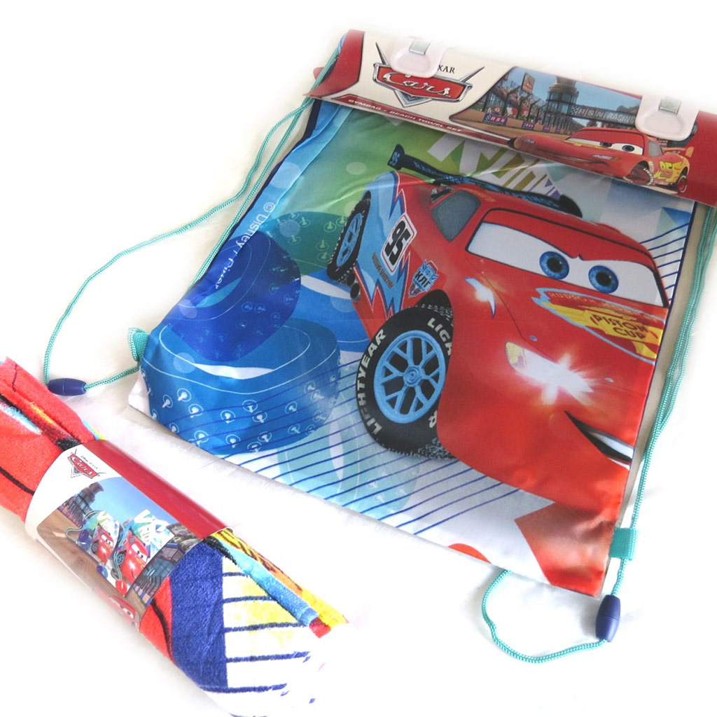 Set de plage \'Cars\' bleu rouge (serviette + sac piscine) 120x60 cm - [M5777]