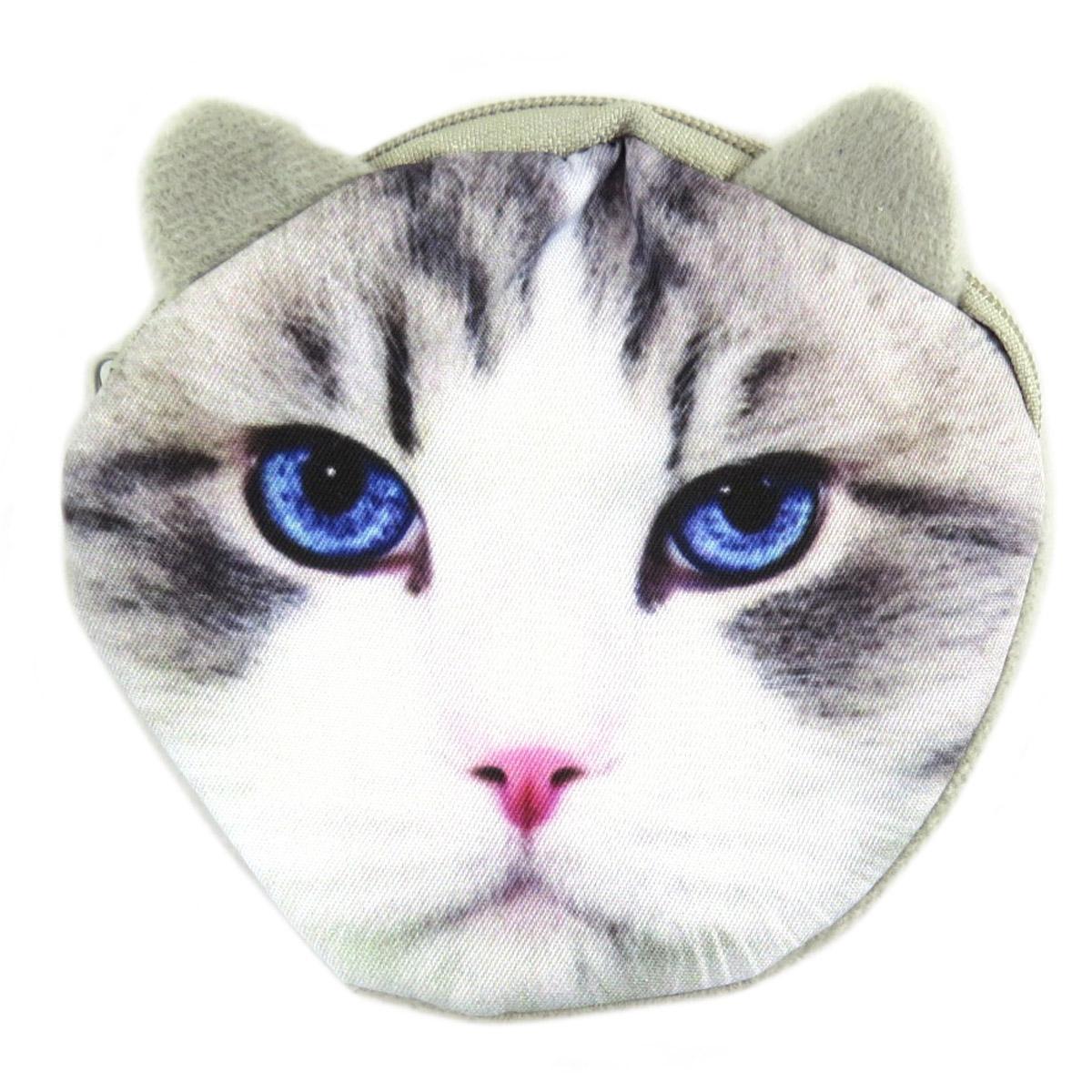 Porte-monnaie \'Chats\' gris bleu - 10 cm - [Q3095]