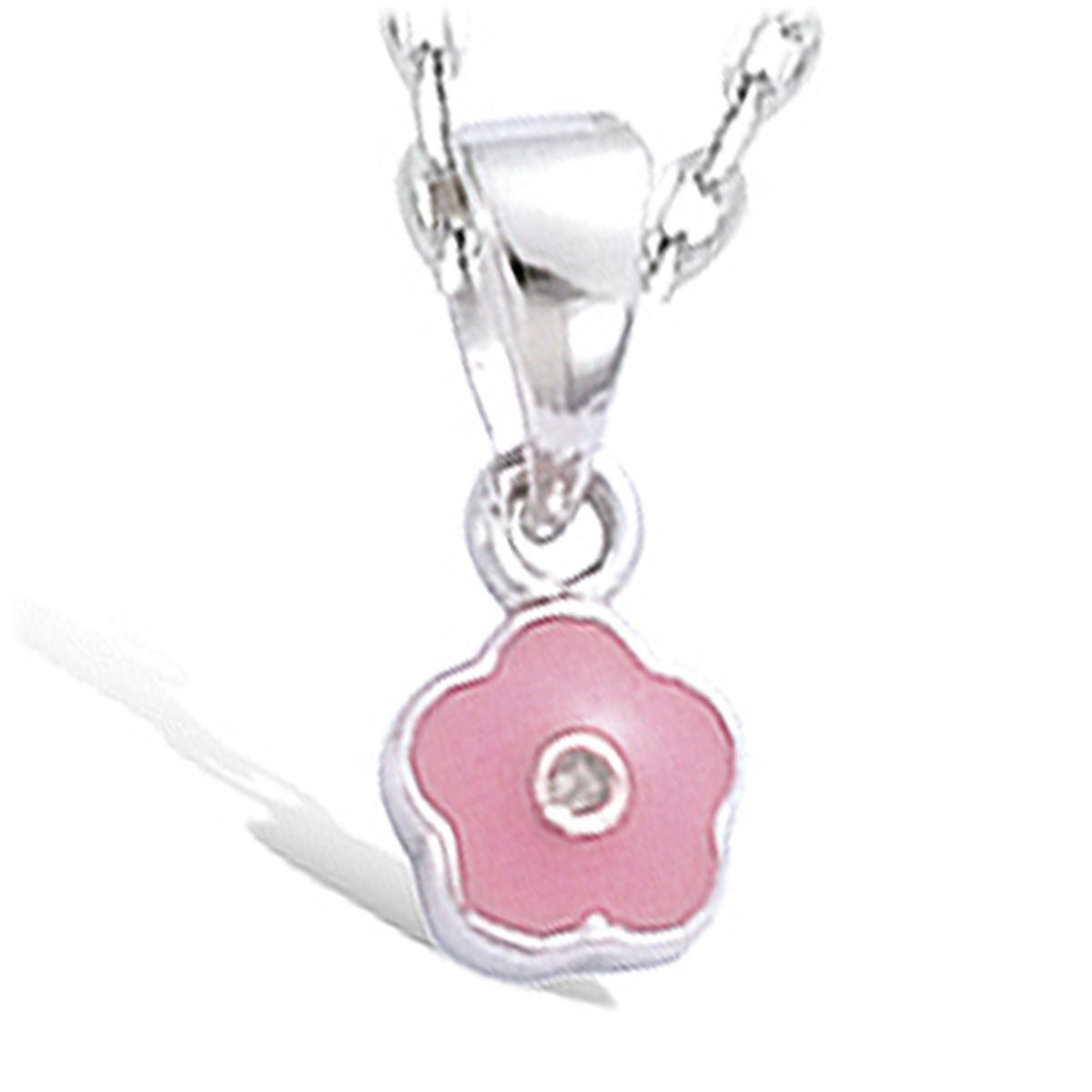 Pendentif Argent \'Fleur\' rose argenté (rhodié) - 8 mm - [G1068]