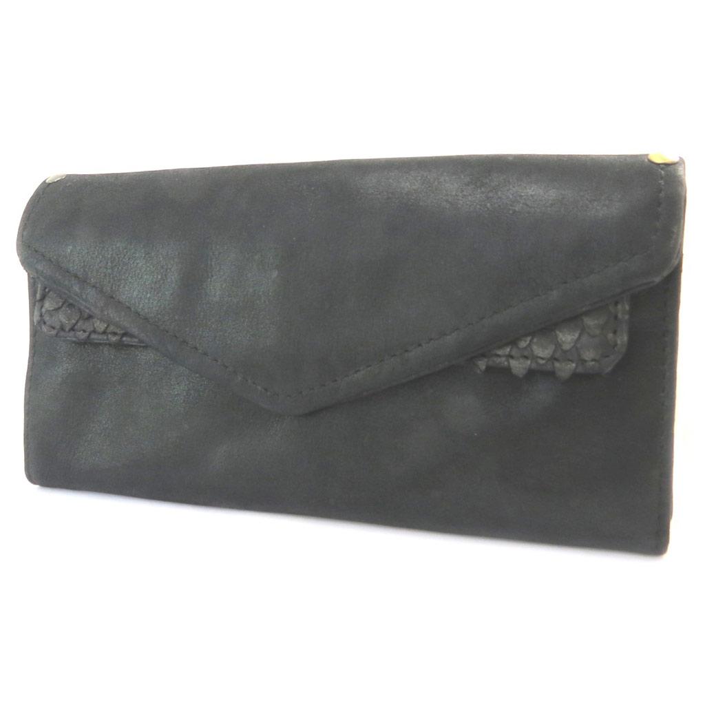 Compagnon cuir \'Anaik\' noir reptile (double compartiments) - 20x10x15 cm - [P4326]