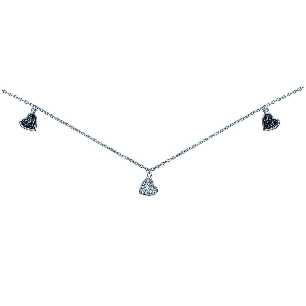 Collier Argent \'Love\' noir blanc argenté (rhodié) - 8 mm - [G7878]