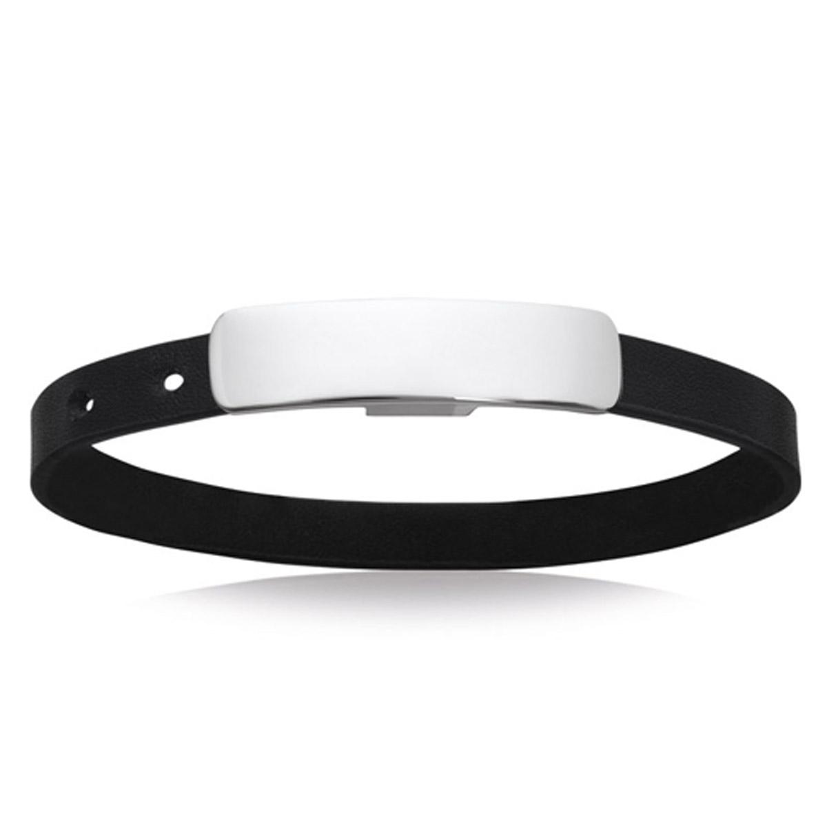 Bracelet acier \'Identité\' argenté cuir - 40x10 mm - [P4339]