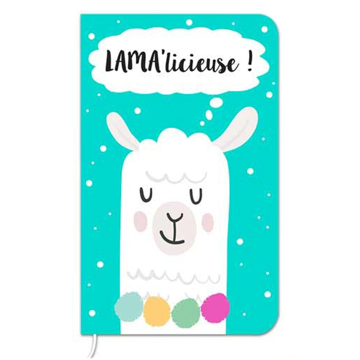 Carnet de notes \'Lama Mania\' turquoise (Lama\' licieuse) - 145x9 cm (72 pages) - [Q0874]