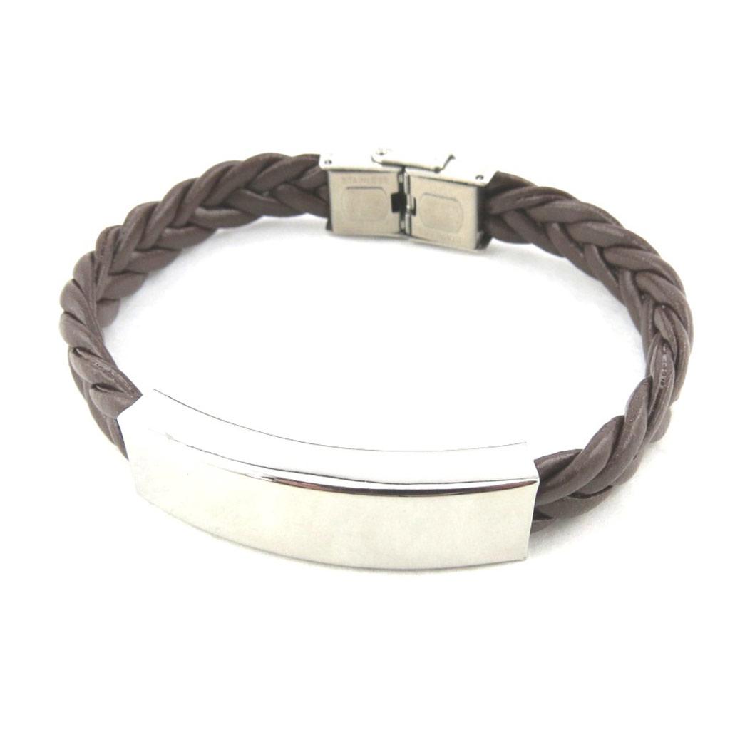 Bracelet acier \'Identité\' marron - [M9433]