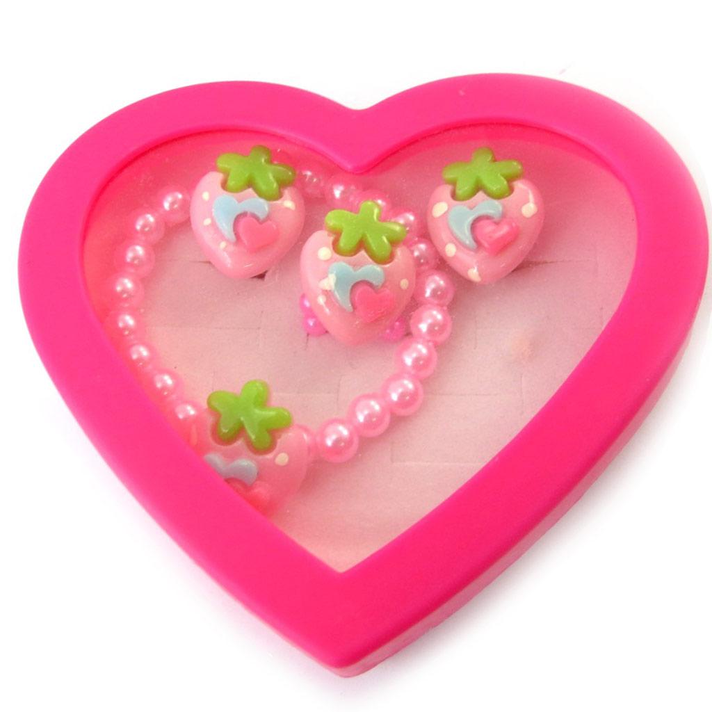 Parure \'Fraises\' rose vert (bracelet, bague, boucles) - [N5065]