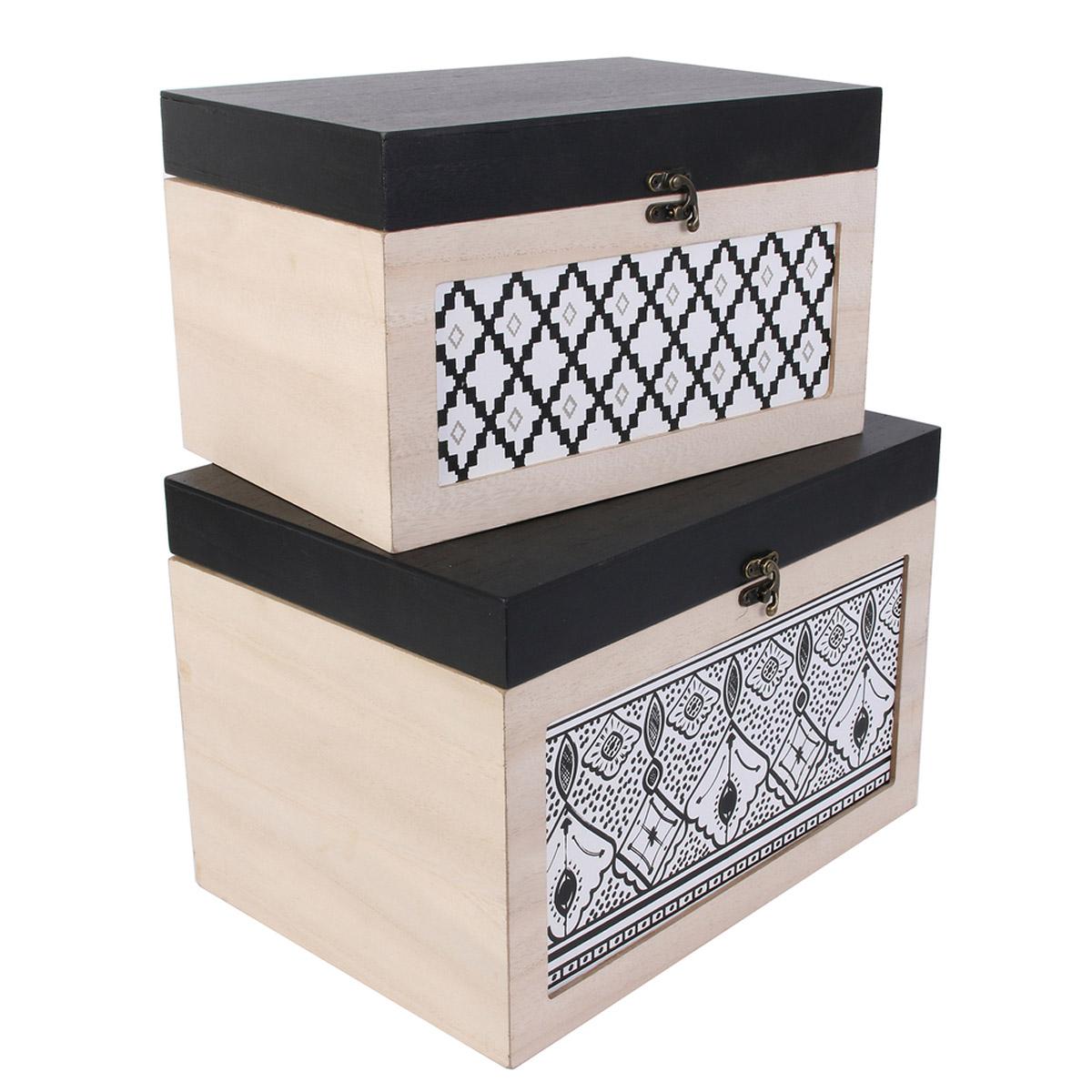 Set de 2 boites de rangement bois gigognes \'Boho\' beige noir - 34x24x235 cm - [R2383]