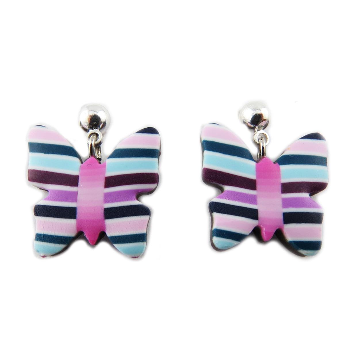 Boucles d\'oreilles artisanales \'Colombine & Arlequin\' violet (papillons) - 15x15 mm - [R1202]