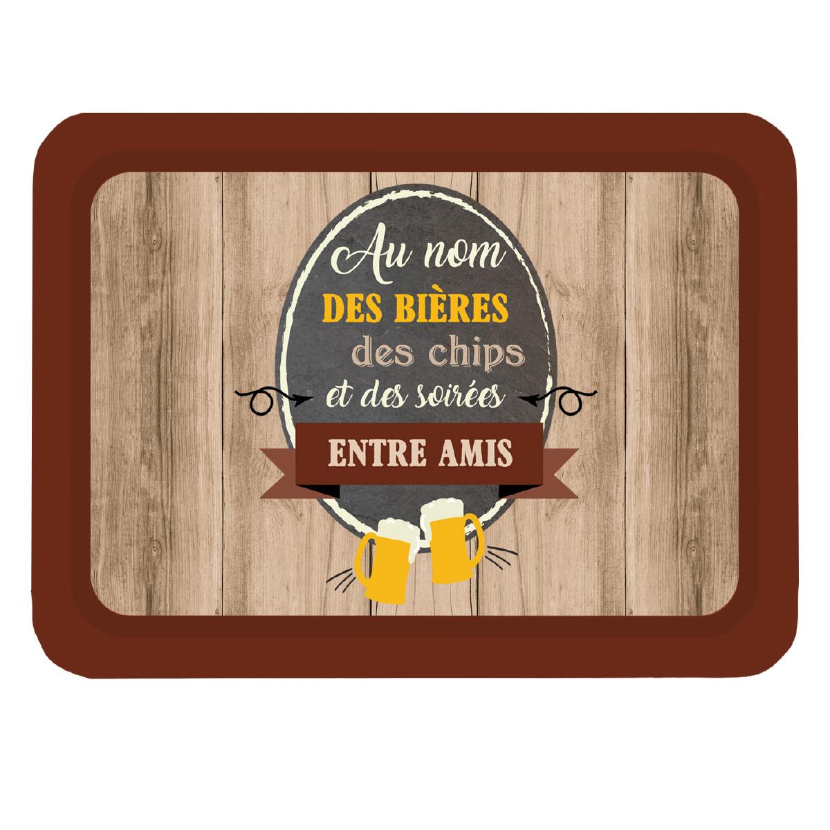 Plateau métal \'Messages\' (Au nom des bières et des chips et des soirées entre Amis) - 35x25 cm - [Q3788]