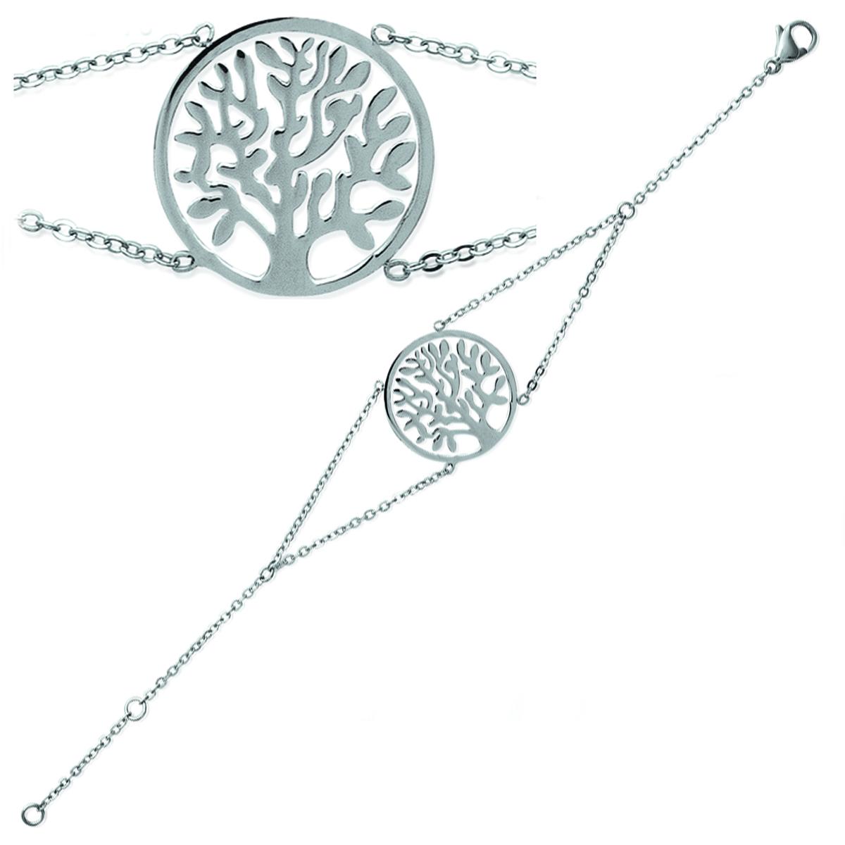 Bracelet acier \'Arbre de Vie\' argenté - 18 cm 22 mm - [P4348]