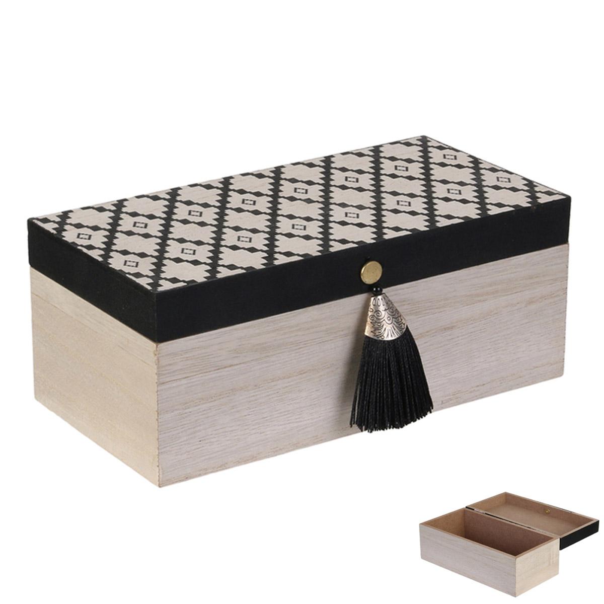 Boite de rangement bois \'Boho\' beige noir - 20x10x8 cm - [R2384]