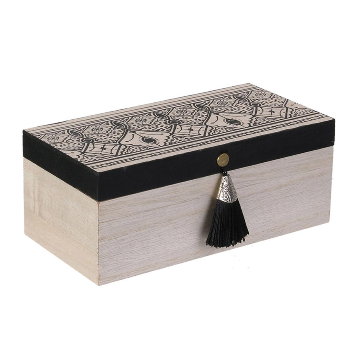 Boite de rangement bois \'Boho\' beige noir - 20x10x8 cm - [R2385]