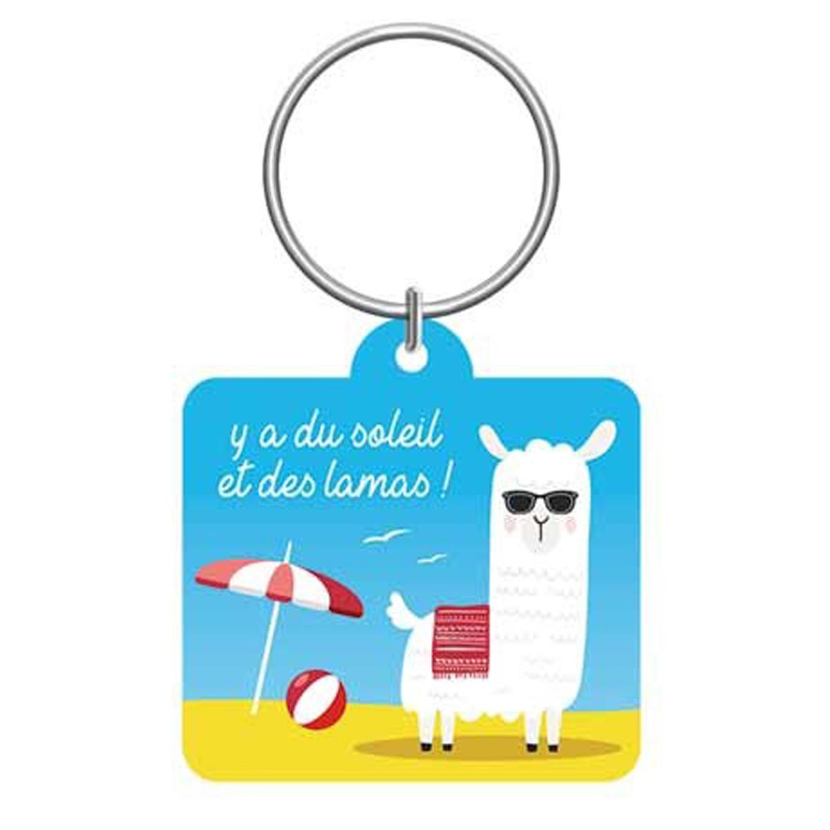 Porte-clés \'Lama Mania\' bleu jaune (Y\'a du soleil et des lamas !) - 55x5 cm - [Q0881]