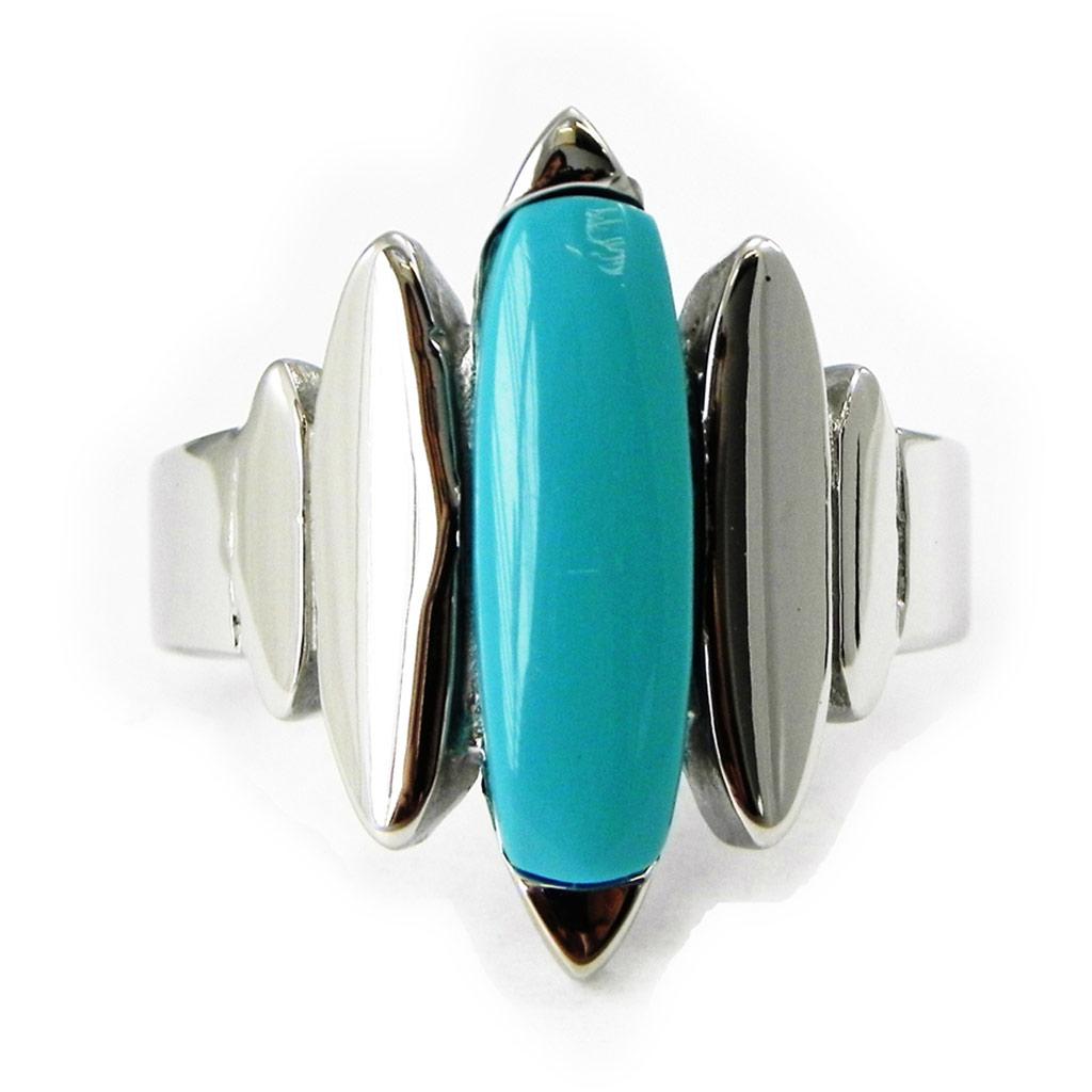 Bague acier \'Calypso\' turquoise argenté - [I3459]