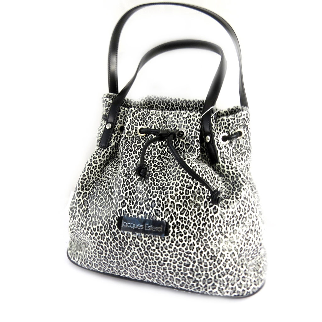 Sac créateur \'Jacques Esterel\' blanc noir léopard - [M0140]
