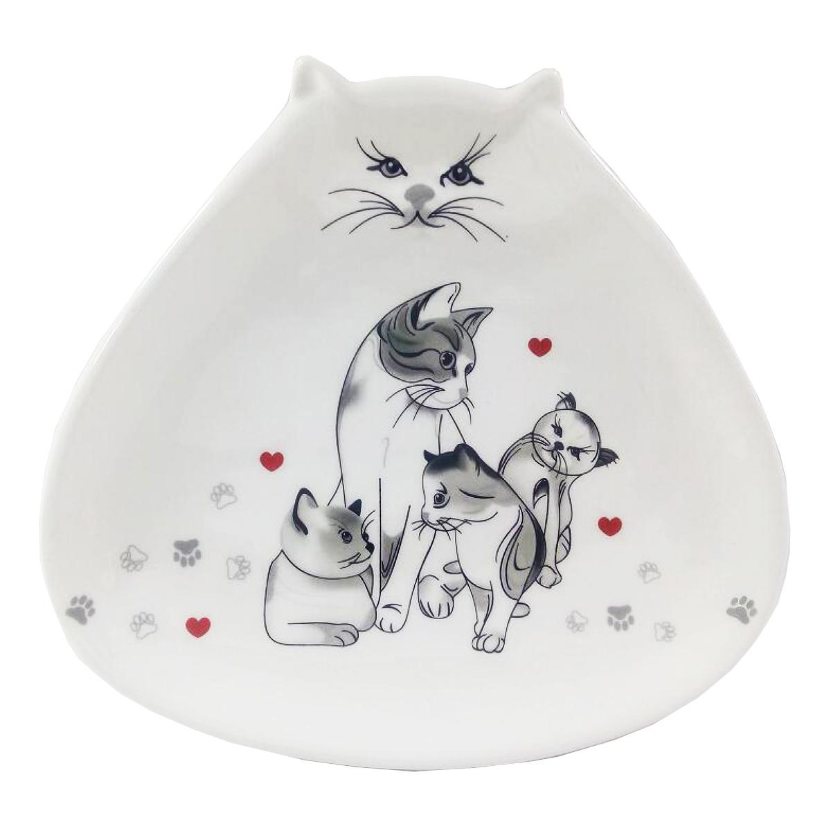 Coupelle vide-poches céramique \'Un Amour de Chats\' gris blanc - 182x195 cm - [Q3796]