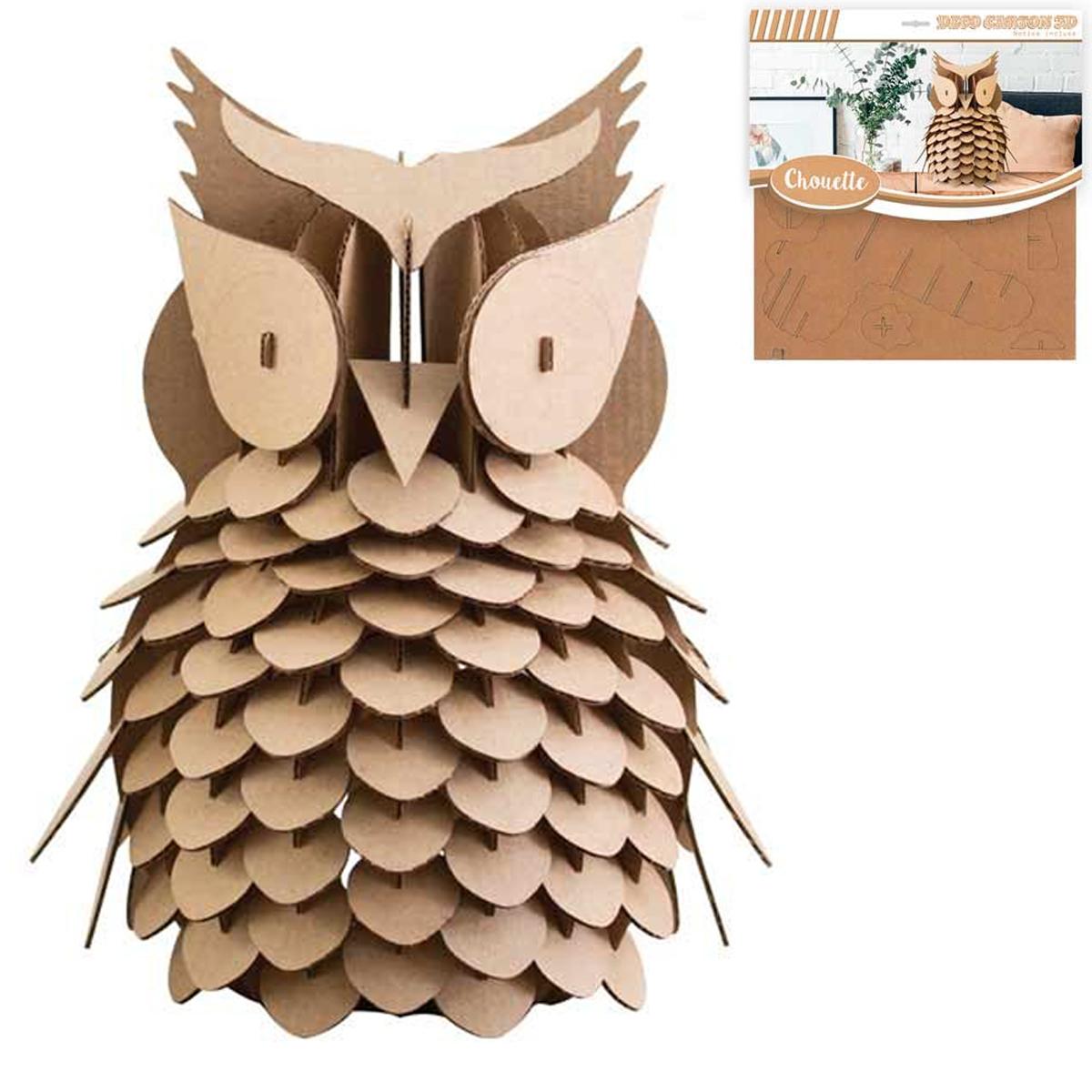 Figurine carton 3D \'Chouette\' - planches 30x305 cm - [Q3136]