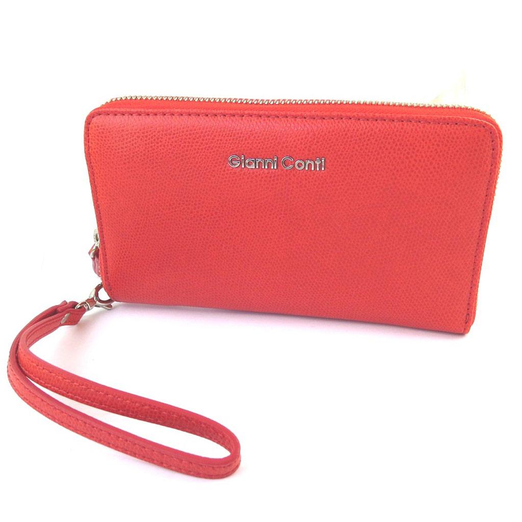 Compagnon zippé / pochette cuir \'Gianni Conti\' rouge - 185x11x25 cm - [N6086]