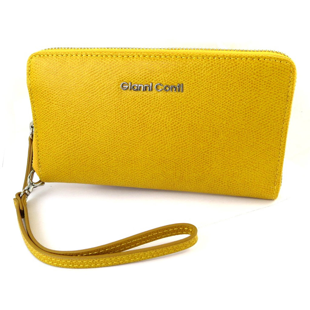 Compagnon zippé / pochette cuir \'Gianni Conti\' jaune - 185x11x25 cm - [N6087]