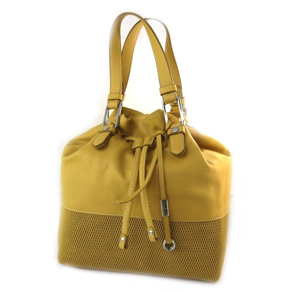 Sac bourse cuir \'Gianni Conti\' jaune mangue - 26x25x20 cm - [N6091]