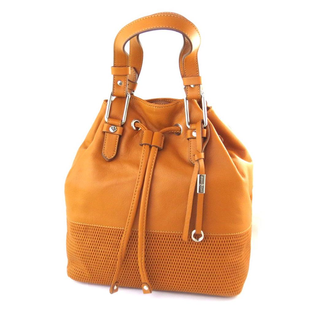 Sac bourse cuir \'Gianni Conti\' orange paprika - 26x25x20 cm - [N6093]