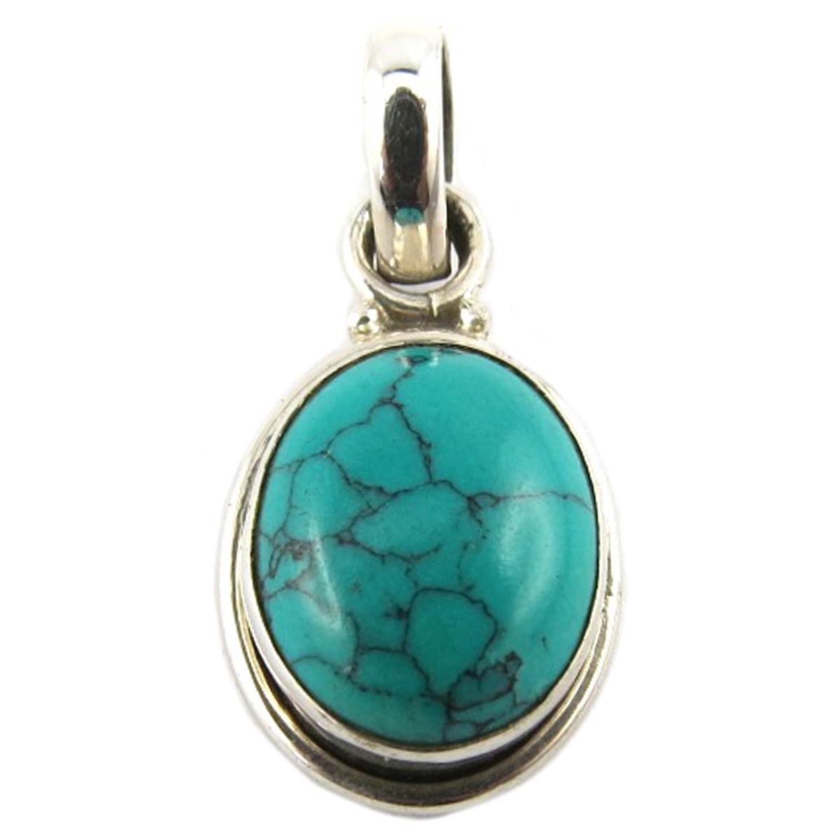 Pendentif Argent artisanal \'Heaven\' turquoise - 13x10 mm - [Q9869]