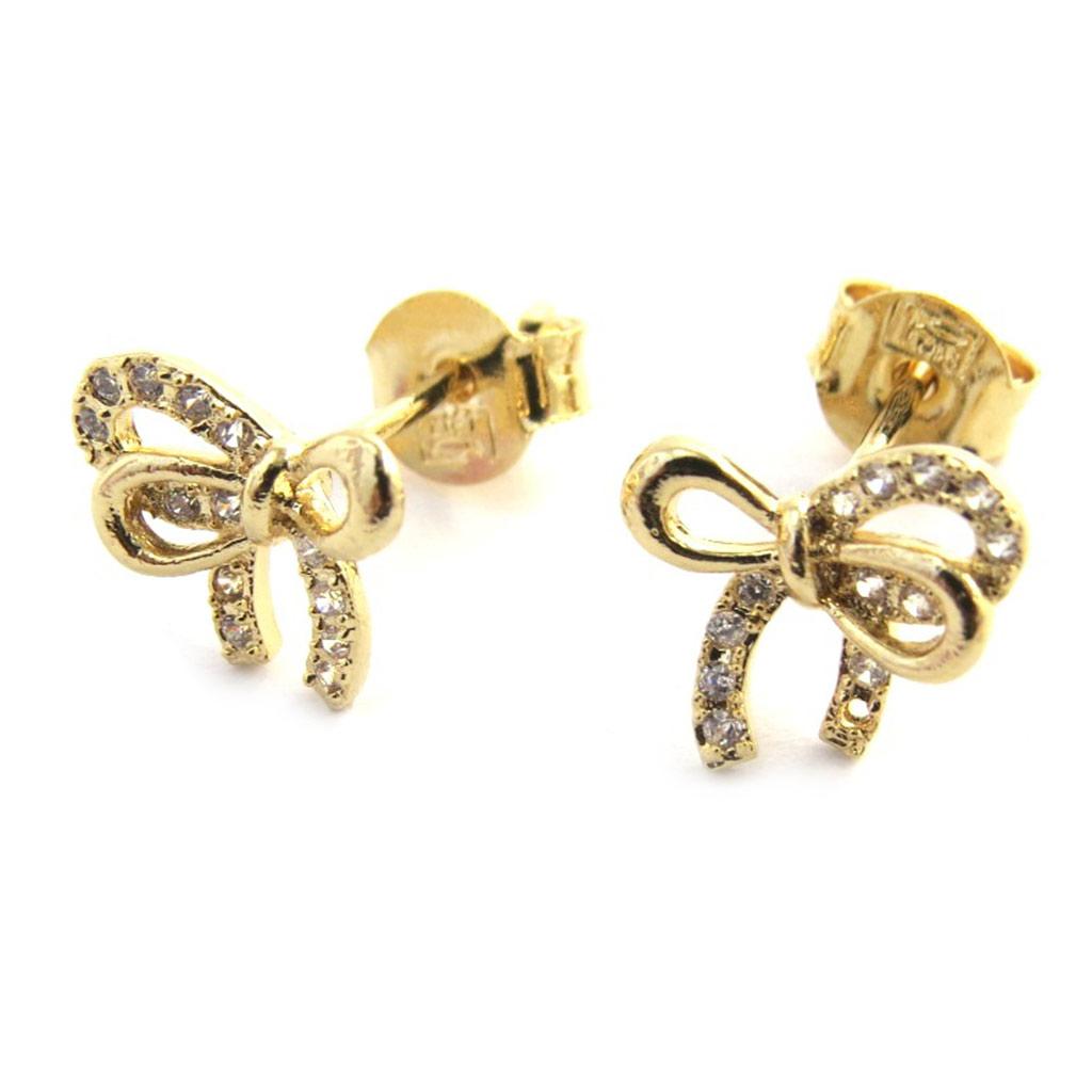 Boucles plaqué or \'Noeud Romantique\' blanc doré - [M9455]