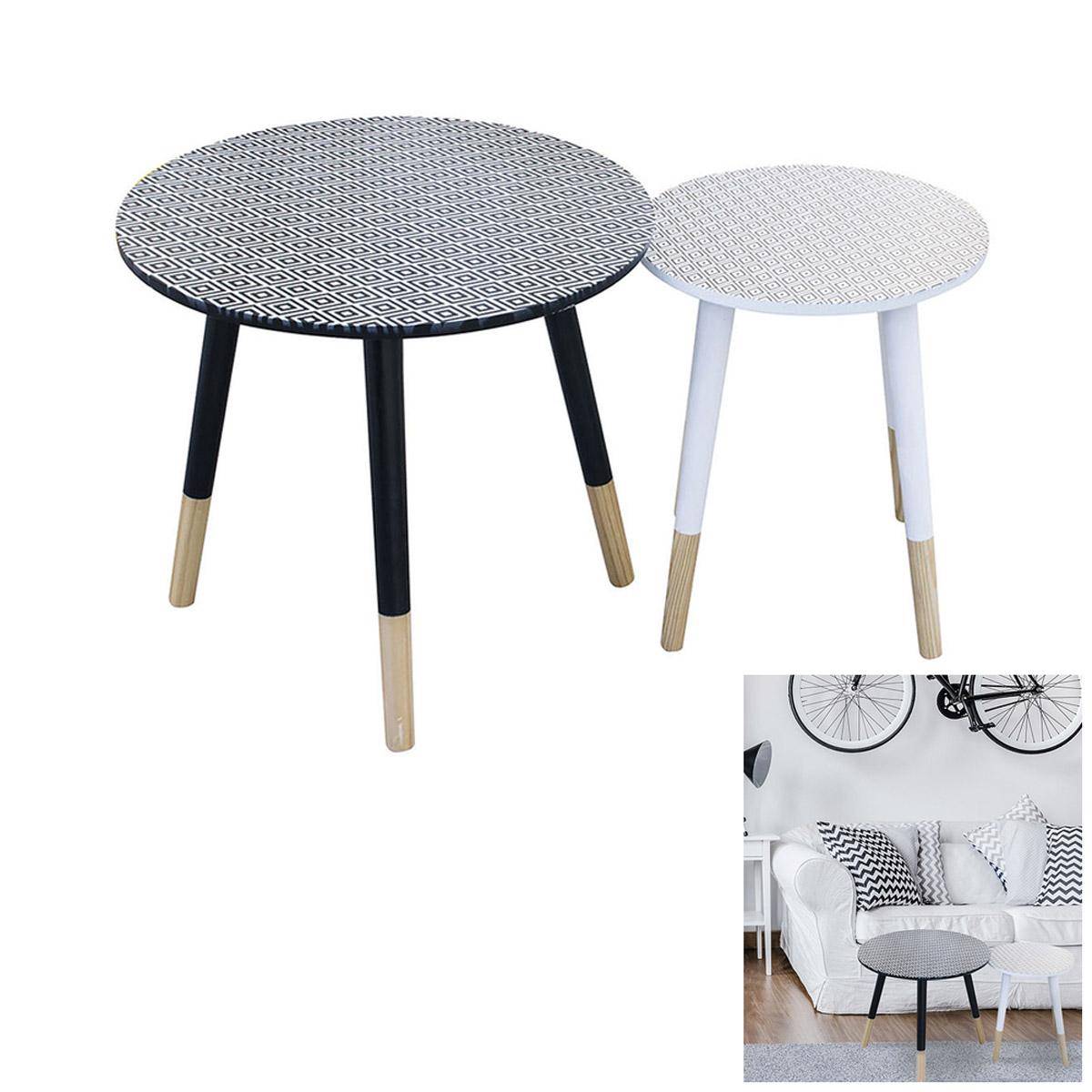 2 tables gigognes bois \'Boho\' noir blanc - 48 et 33 cm - [R2398]