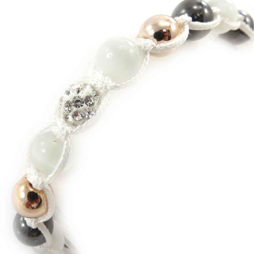 Bracelet ethnique \'Shambhala\' blanc doré - [J8705]