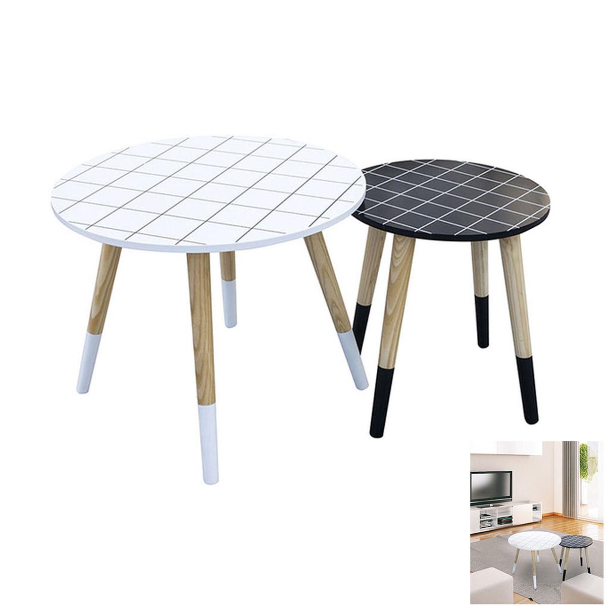 2 tables gigognes bois \'Boho\' noir blanc - 48 et 33 cm - [R2399]