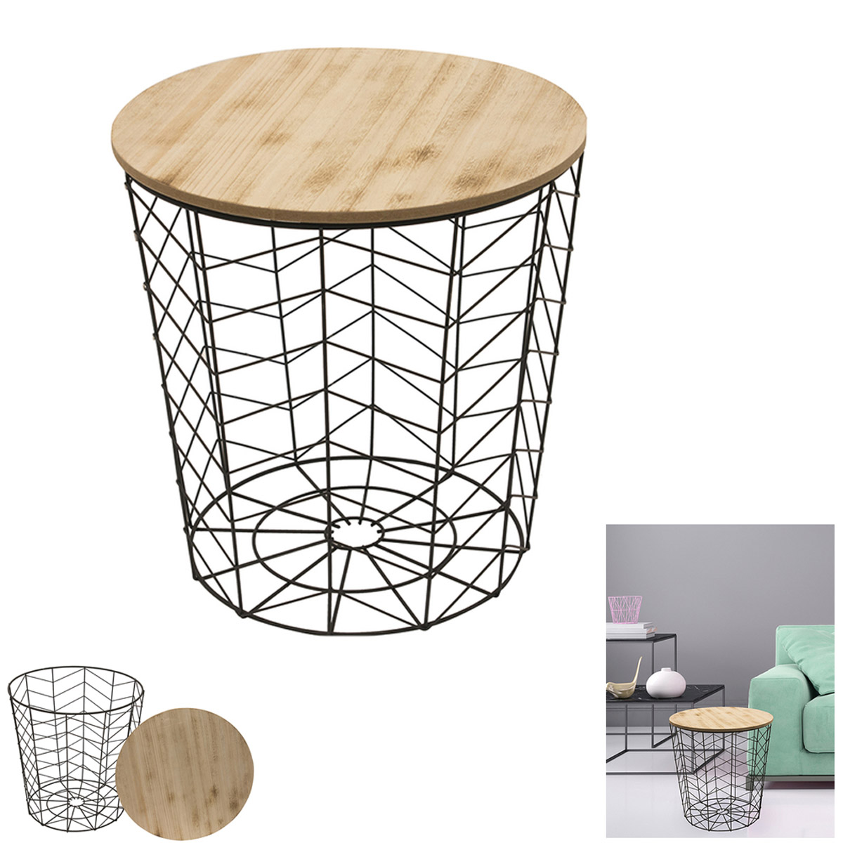 Table filaire bois métal \'Boho\' noir beige - 40x385 cm - [R2400]