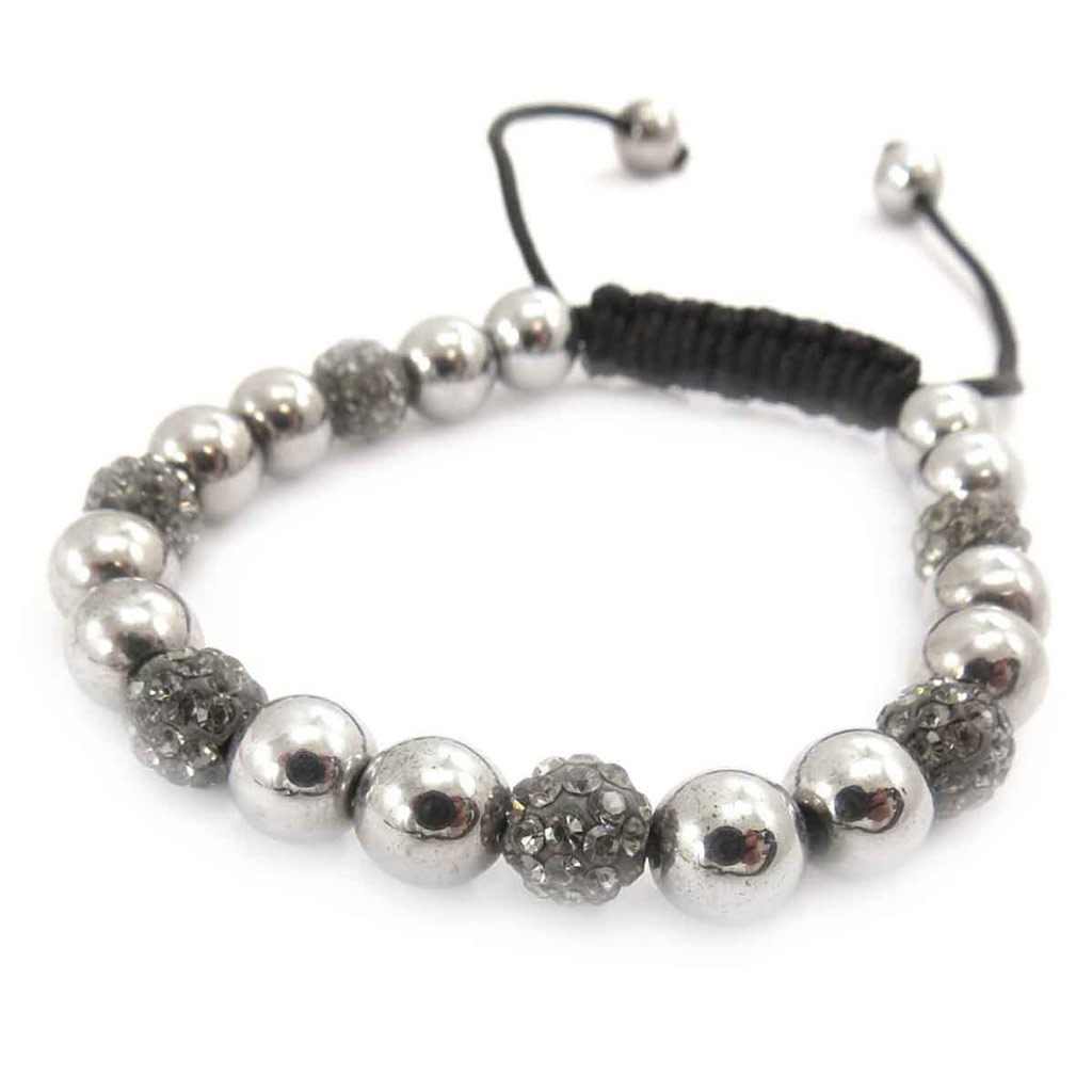 Bracelet ethnique \'Shambhala\' gris - [J8709]