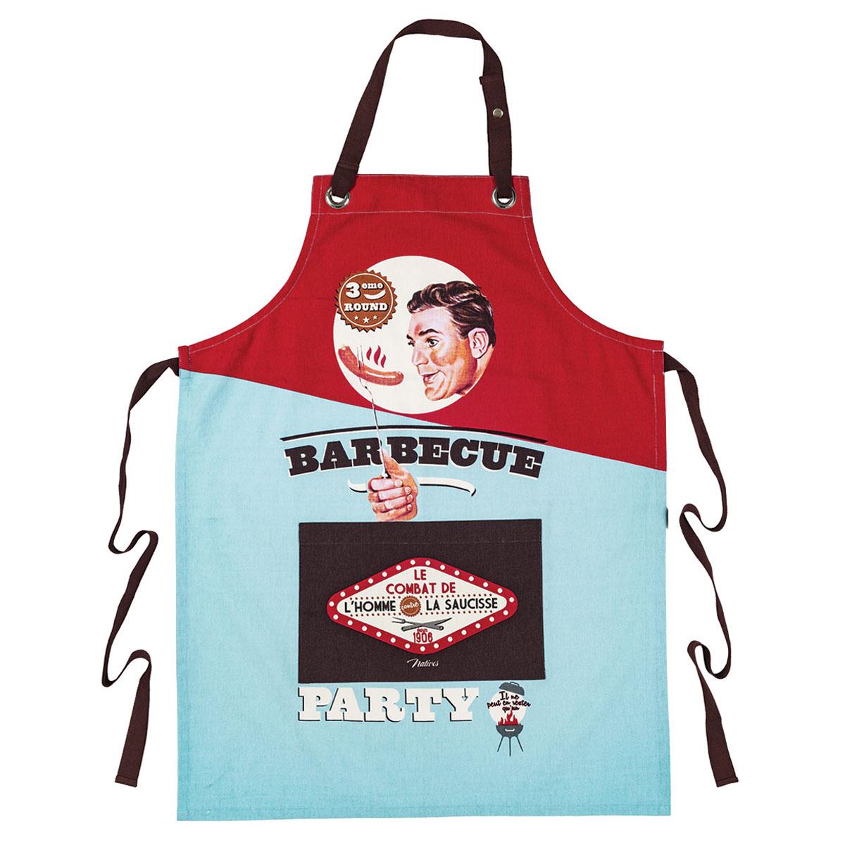 Tablier coton \'French Vintage\' (Barbecue Party - le combat de l\'Homme et la Saucisse) - 80x57 cm - [Q6980]