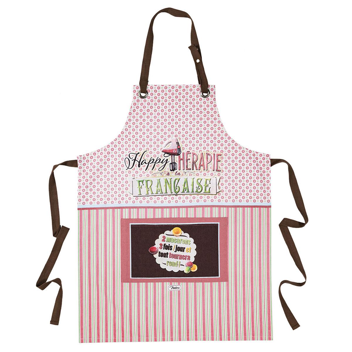 Tablier coton \'French Vintage\' (Happy thérapie à la Française - macarons) - 80x57 cm - [Q6982]