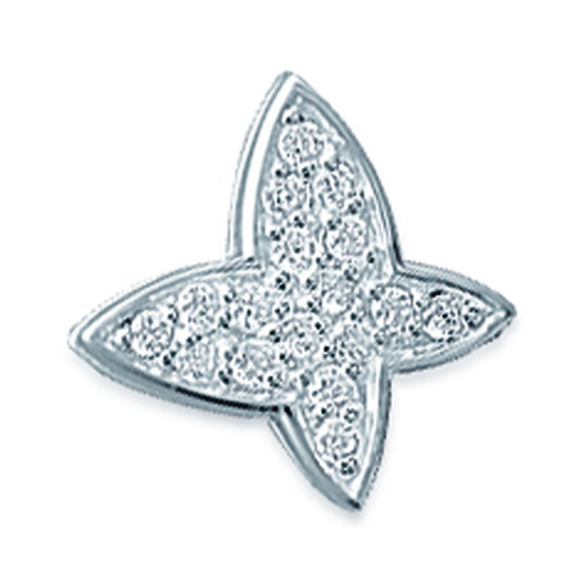 Pendentif Argent \'Papillon\' blanc argenté (rhodié) - 15x14 mm - [G1205]