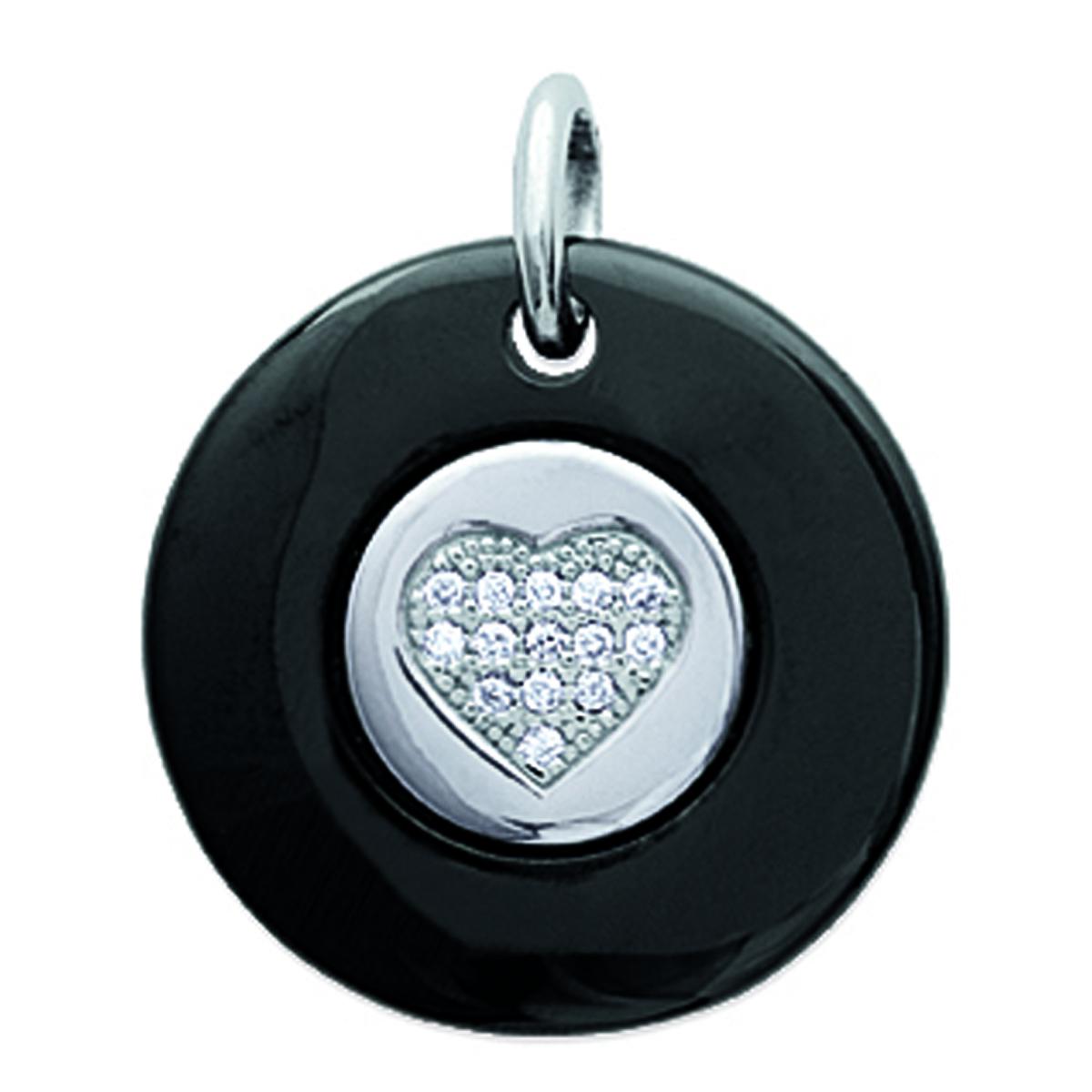 Pendentif Argent \'Love\' noir (céramique) rhodié - 20 mm - [L6693]