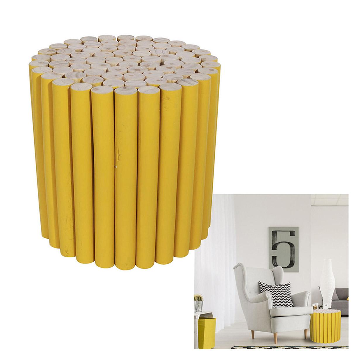 Tabouret bois \'Rondins de bois\' jaune beige - 30x30 cm  - [R2408]