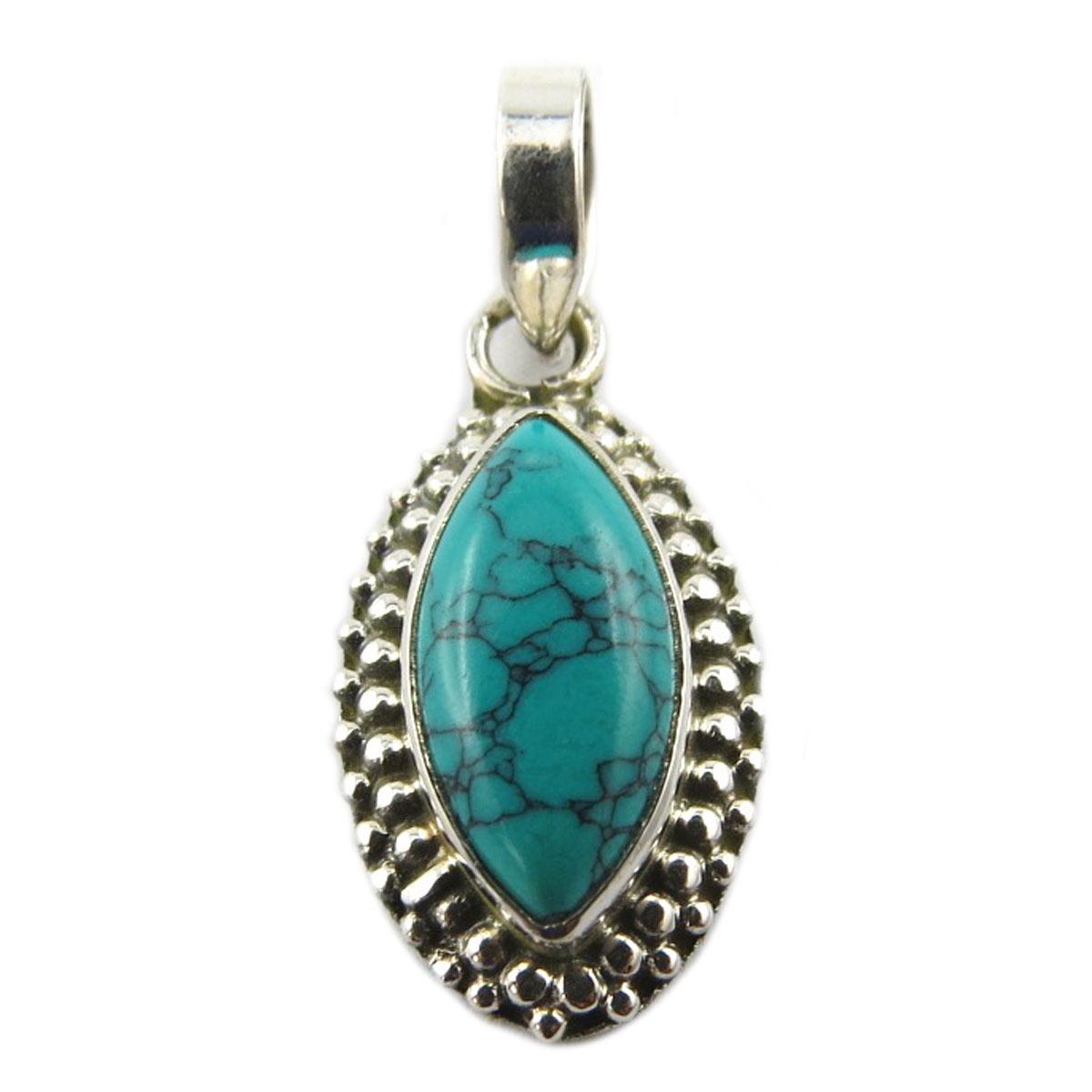 Pendentif Argent artisanal \'Heaven\' turquoise - 18x12 mm - [Q9886]