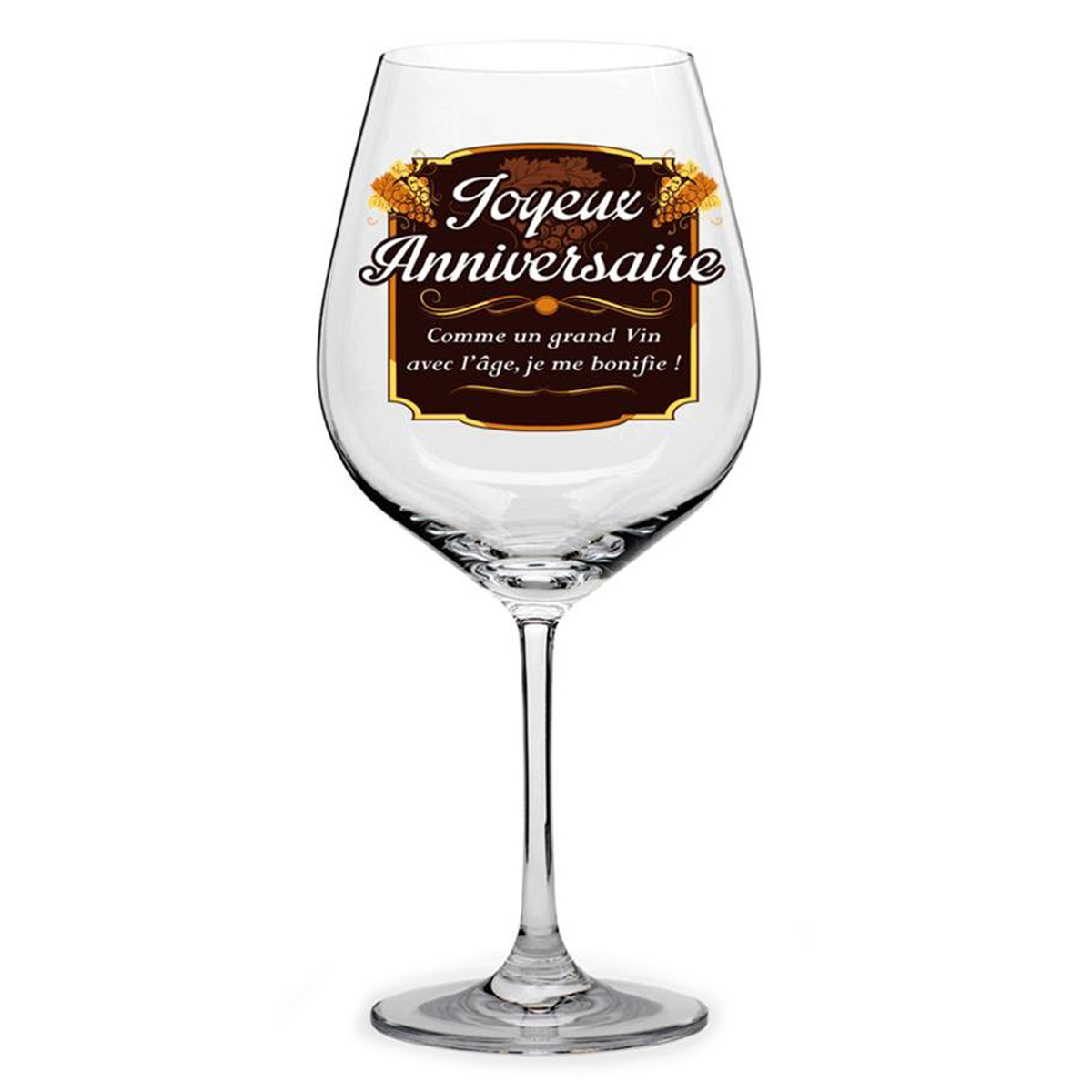 Verre à vin \'Joyeux Anniversaire\'  - [N6145]