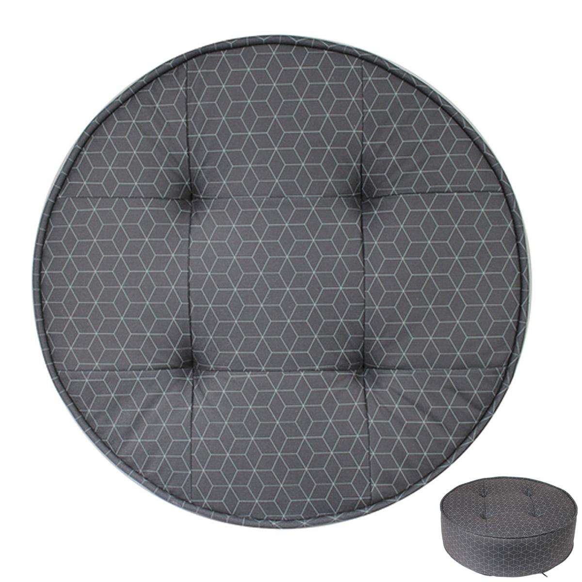 Pouf rond \'Boho\' gris anthracite - 50x16 cm - [R2413]