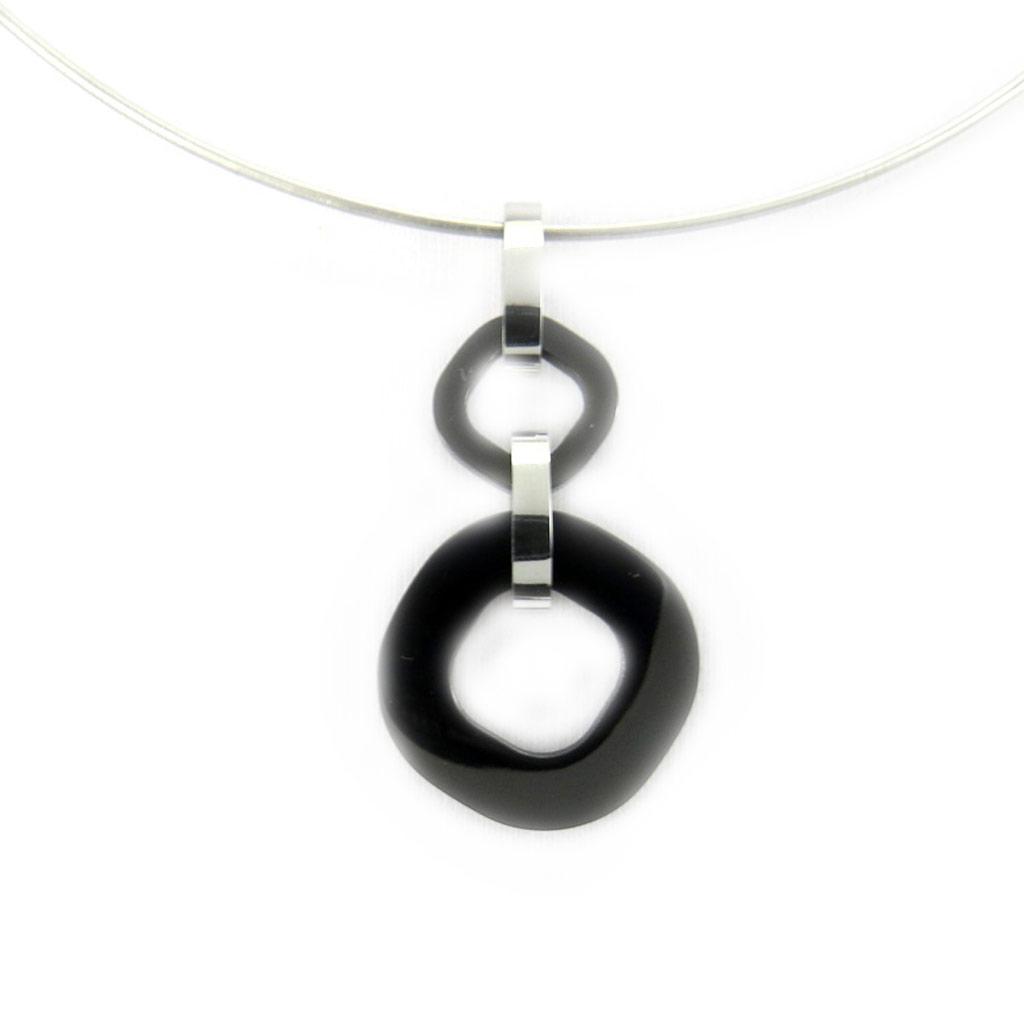 Collier acier \'Chorégraphie\' noir argenté (céramique) - [L6703]