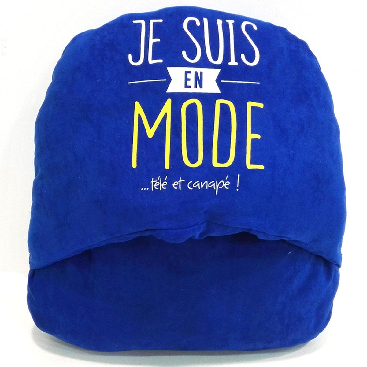 Géant chausson duo \'Citations\' bleu (\'Je suis en mode  télé et canapé !\') - [N5131]