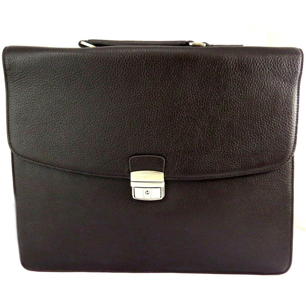 Porte-documents cuir \'Ted lapidus\' marron 2 soufflets (spécial ordinateur) 38 cm - [M0243]