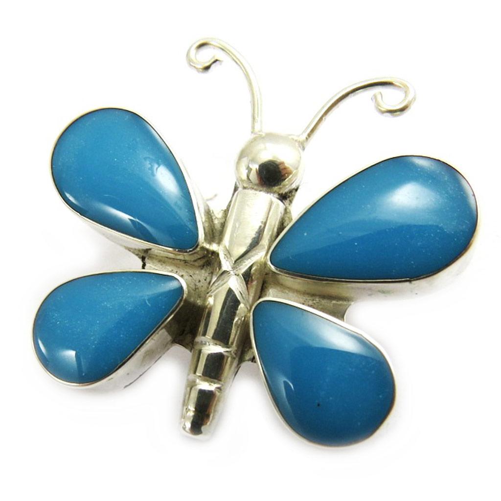 Pendentif Argent \'Doux Papillon\' Turquoise  - [B6329]