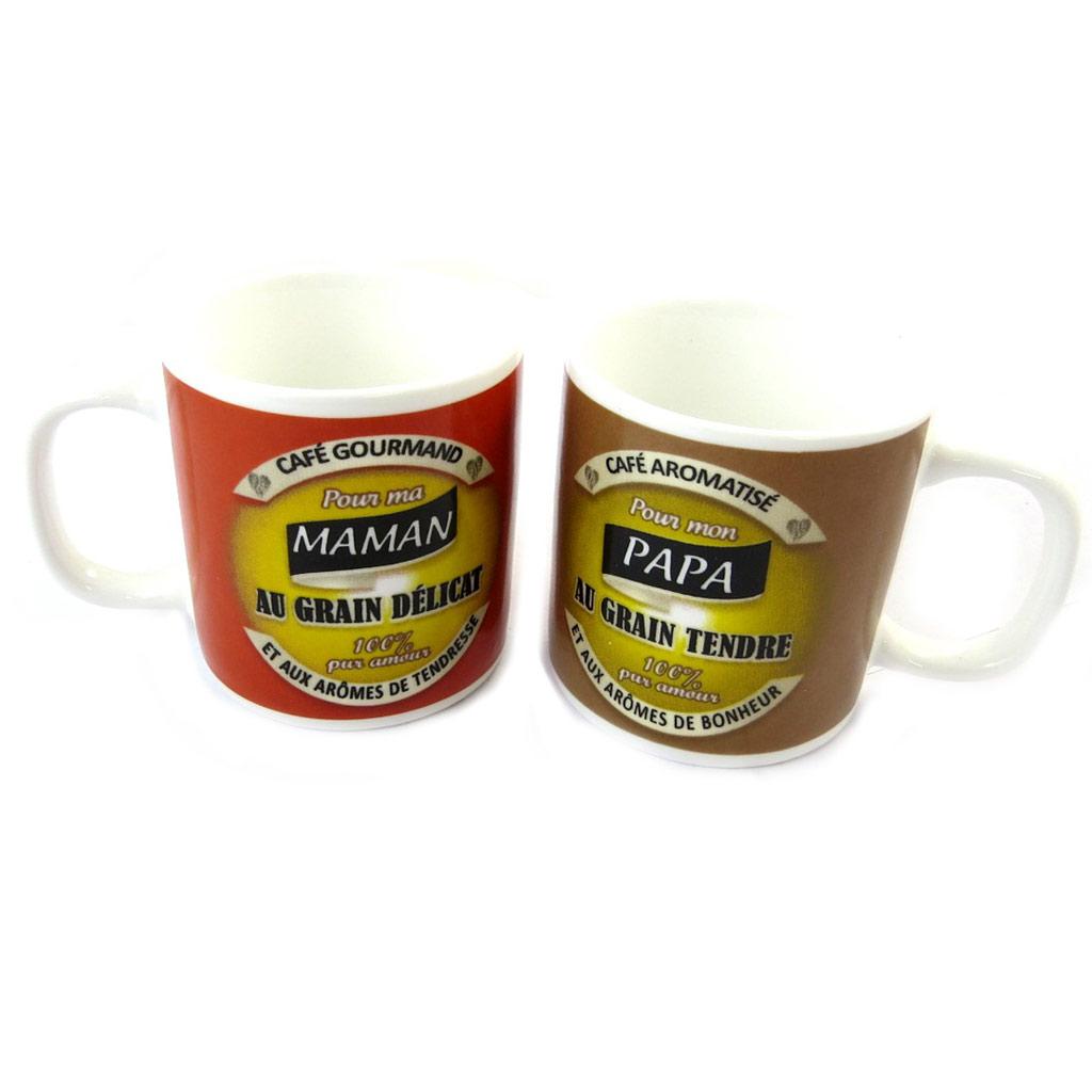 Set de 2 tasses à café \'Maman Papa\'  - [N6152]