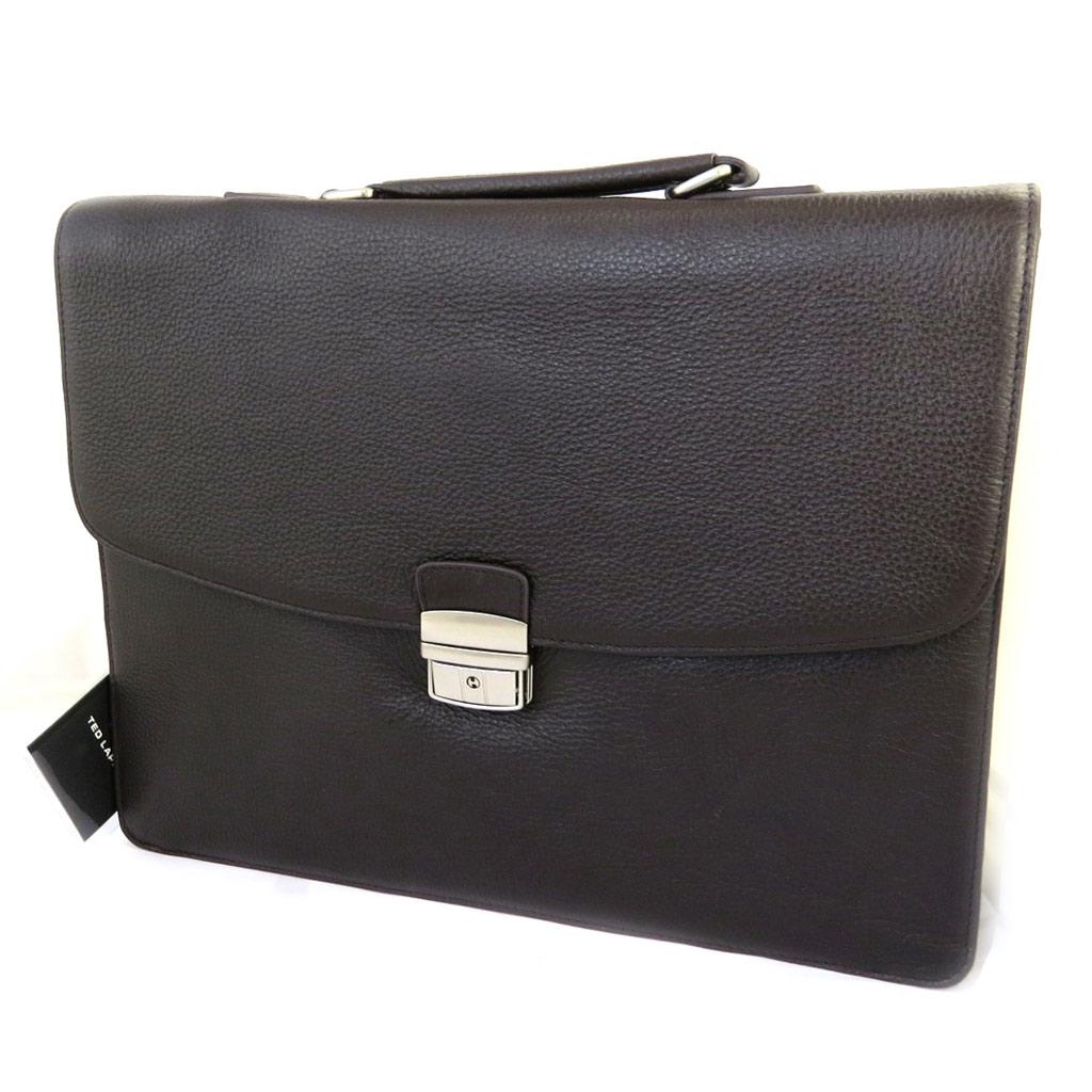 Porte-documents cuir \'Ted lapidus\' marron 1 soufflet (spécial ordinateur) 38 cm - [M0246]