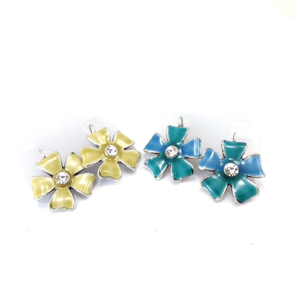 2 paires de boucles créateur \'Flora\' ocre turquoise - [K2485]