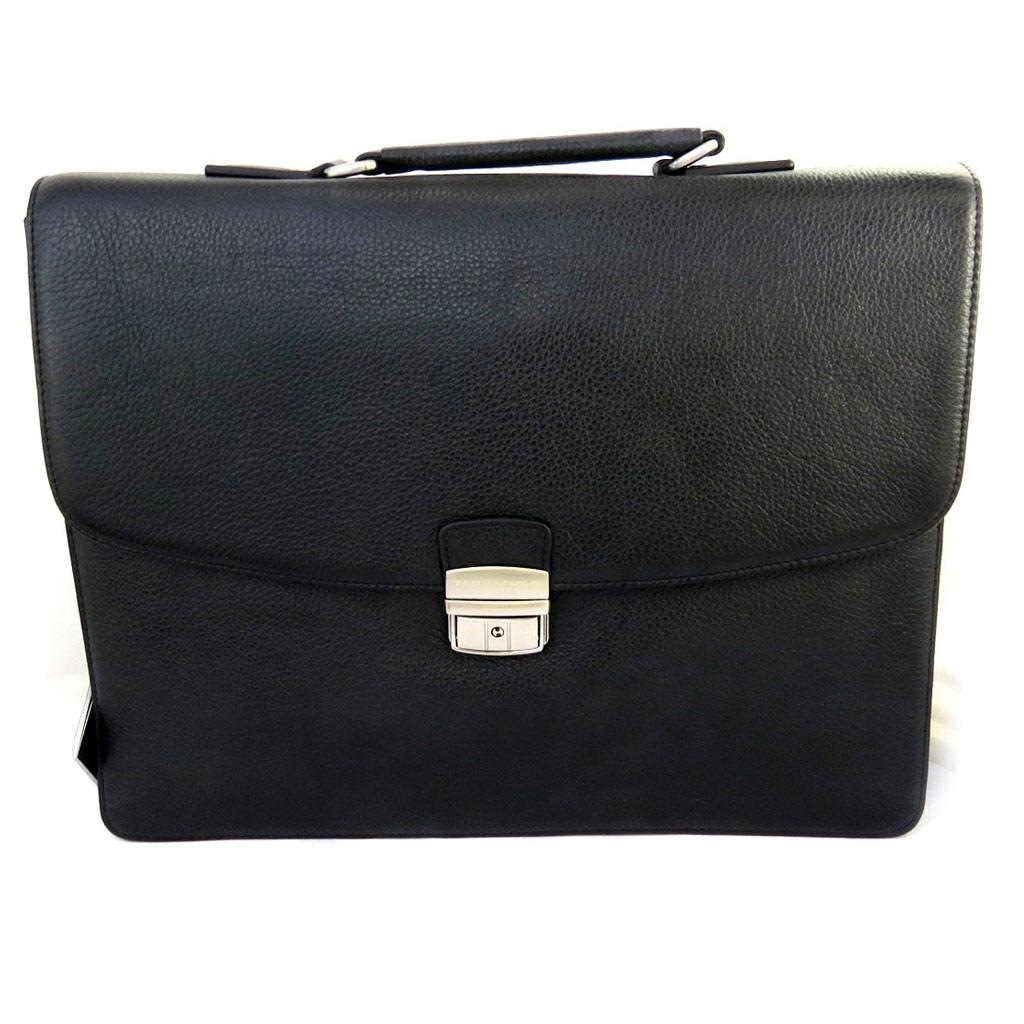 Porte-documents cuir \'Ted lapidus\' noir 1 soufflet (spécial ordinateur) 38 cm - [M0247]